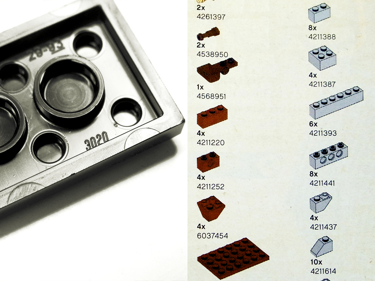 レゴパーツ裏の刻印や説明書の巻末のパーツリスト